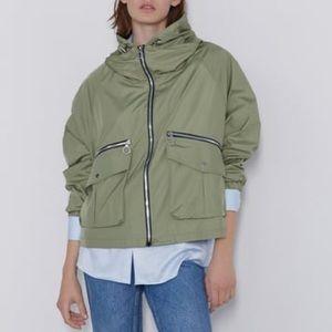 Zara green windbreaker jacket